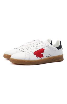 Мужские кожаные кеды boxer DSQUARED2 белого цвета, арт. SNM0174 01500001 | Фото 1