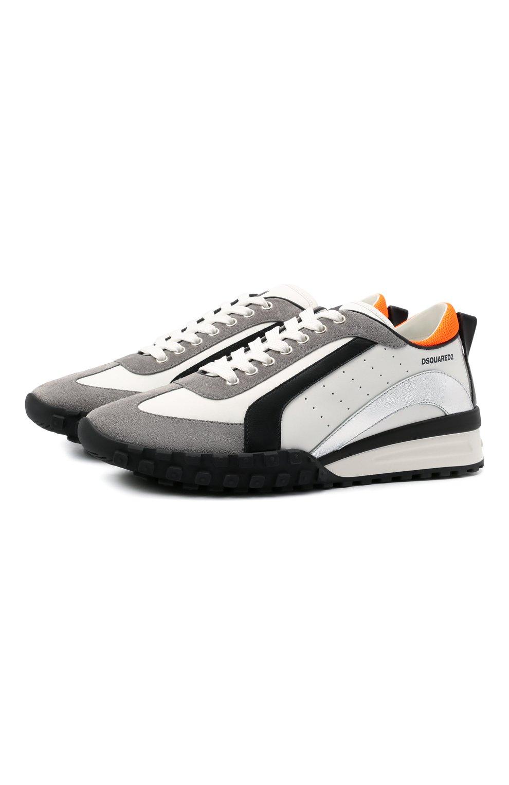 Мужские кожаные кроссовки legend DSQUARED2 белого цвета, арт. SNM0196 01504324   Фото 1 (Материал внутренний: Натуральная кожа; Стили: Гранж; Подошва: Массивная)
