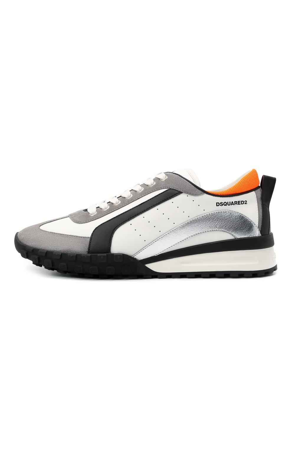 Мужские кожаные кроссовки legend DSQUARED2 белого цвета, арт. SNM0196 01504324   Фото 3 (Материал внутренний: Натуральная кожа; Стили: Гранж; Подошва: Массивная)
