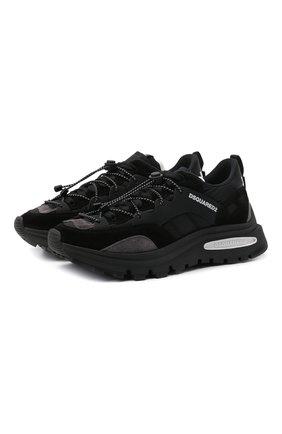 Мужские комбинированные кроссовки run dsq2 DSQUARED2 черного цвета, арт. SNM0210 21304356 | Фото 1