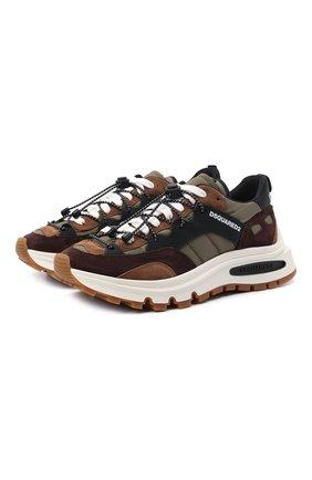 Мужские комбинированные кроссовки run dsq2 DSQUARED2 хаки цвета, арт. SNM0210 21304356 | Фото 1
