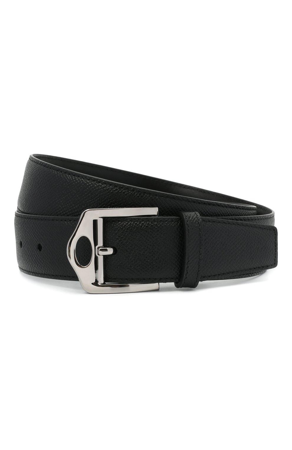 Мужской кожаный ремень BURBERRY черного цвета, арт. 8042553 | Фото 1 (Случай: Повседневный)