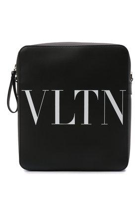 Мужская кожаная сумка vltn VALENTINO черного цвета, арт. WY2B0942/WJW | Фото 1 (Материал: Натуральная кожа; Ремень/цепочка: На ремешке)