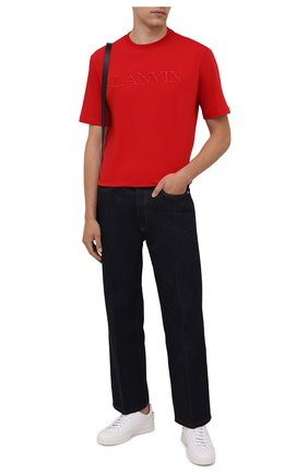 Мужская хлопковая футболка LANVIN красного цвета, арт. RM-TS0002-J007-A21 | Фото 2