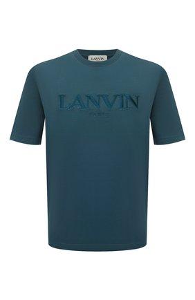 Мужская хлопковая футболка LANVIN синего цвета, арт. RM-TS0002-J007-A21 | Фото 1