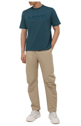 Мужская хлопковая футболка LANVIN синего цвета, арт. RM-TS0002-J007-A21 | Фото 2