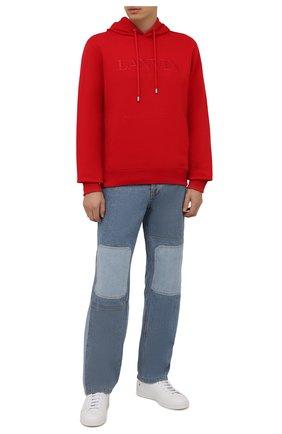 Мужской хлопковое худи LANVIN красного цвета, арт. RM-H00010-J008-A21 | Фото 2