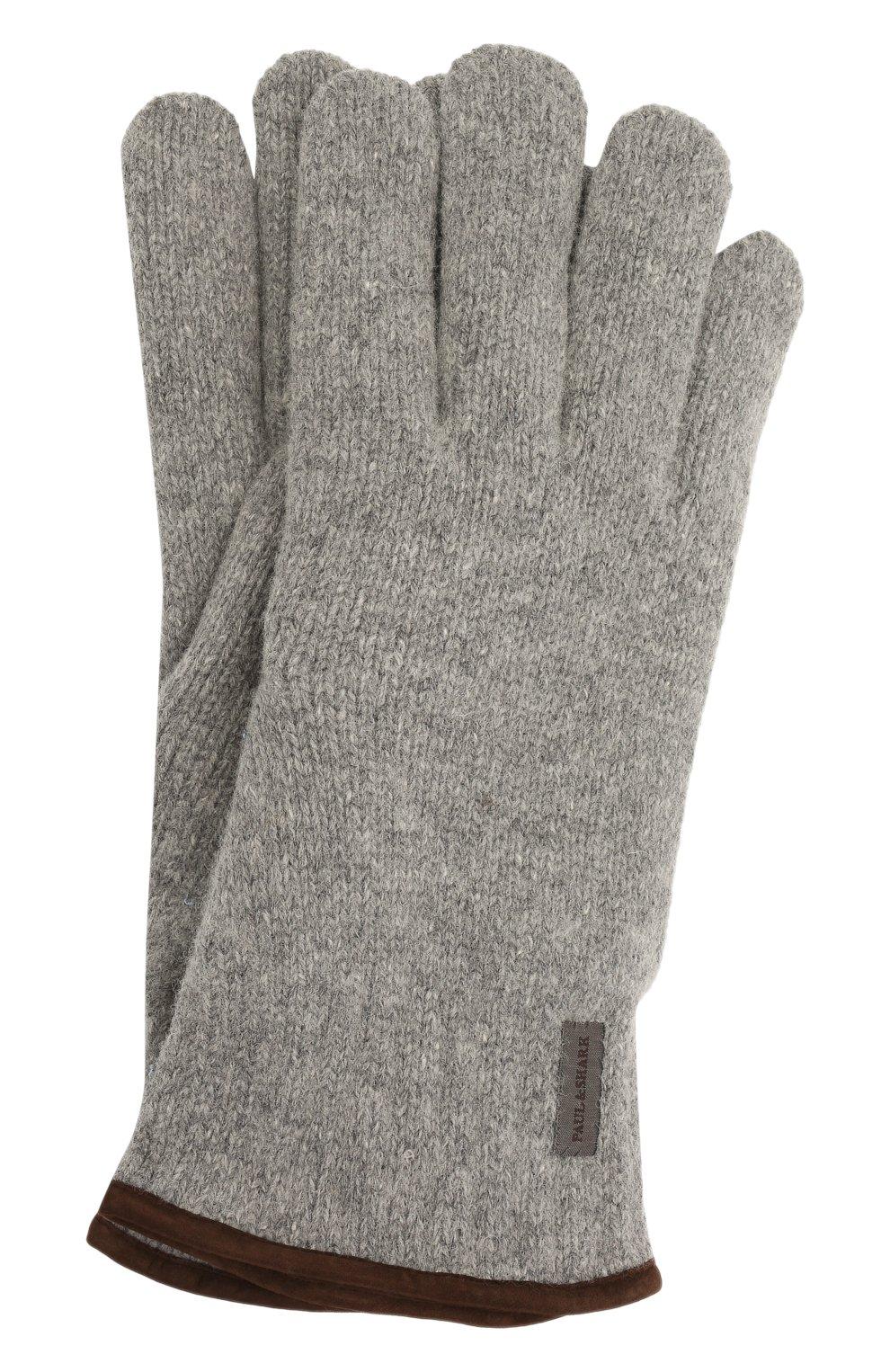 Мужские шерстяные перчатки PAUL&SHARK серого цвета, арт. 11317200/I7E | Фото 1 (Материал: Шерсть; Кросс-КТ: Трикотаж)