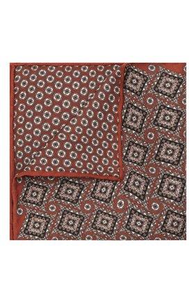 Мужской шелковый платок BRIONI коричневого цвета, арт. 071000/01448   Фото 1