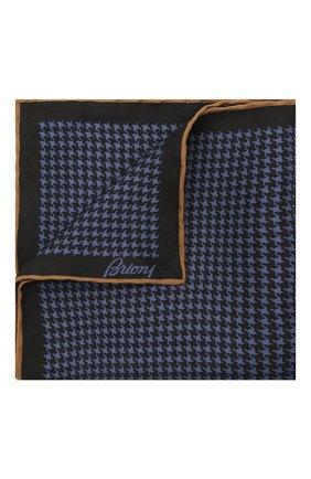 Мужской шелковый платок BRIONI темно-синего цвета, арт. 071000/01441 | Фото 1 (Материал: Шелк, Текстиль)
