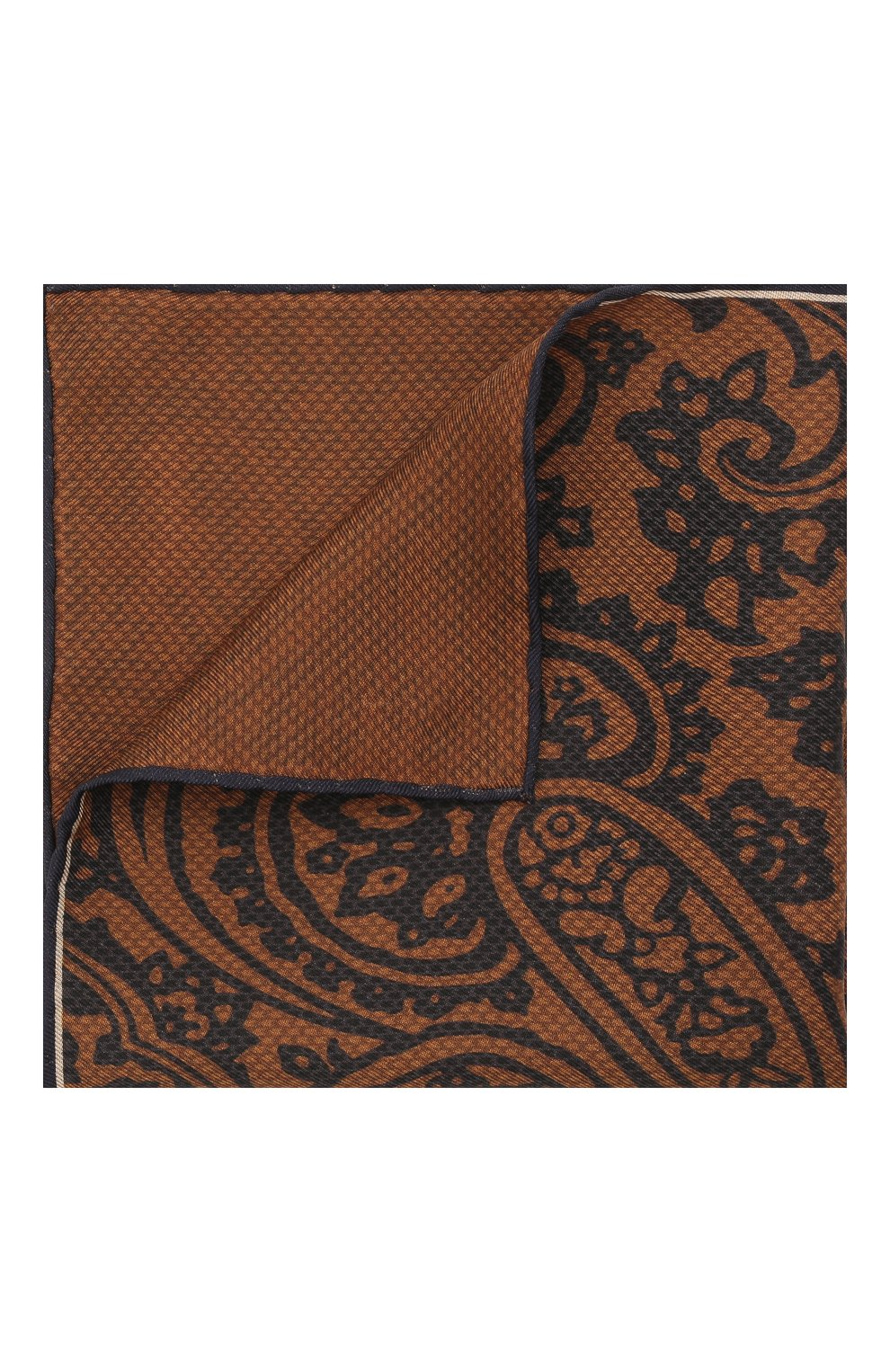 Мужской шелковый платок BRIONI коричневого цвета, арт. 071000/01439   Фото 1 (Материал: Текстиль, Шелк)