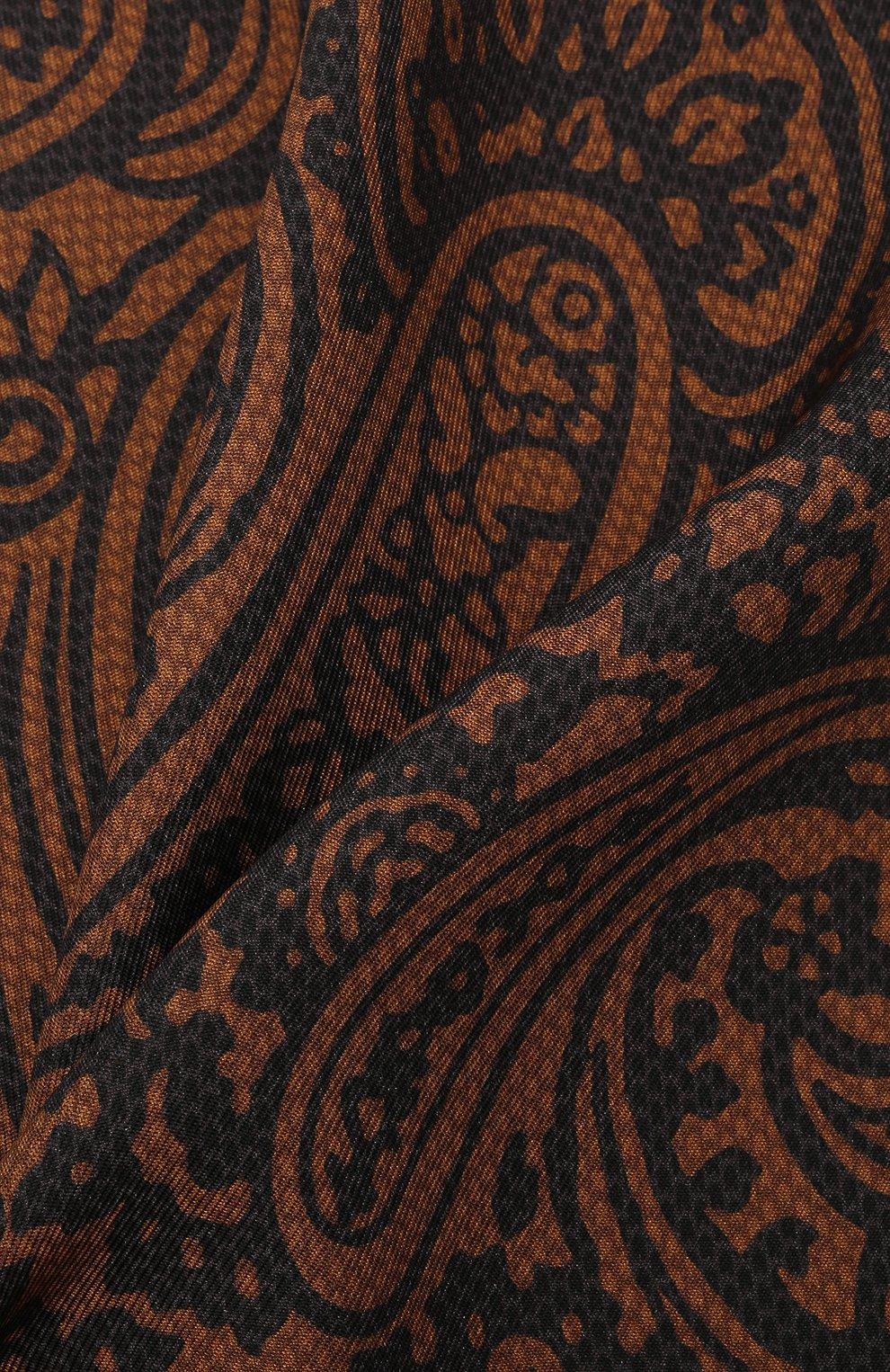 Мужской шелковый платок BRIONI коричневого цвета, арт. 071000/01439   Фото 2 (Материал: Текстиль, Шелк)