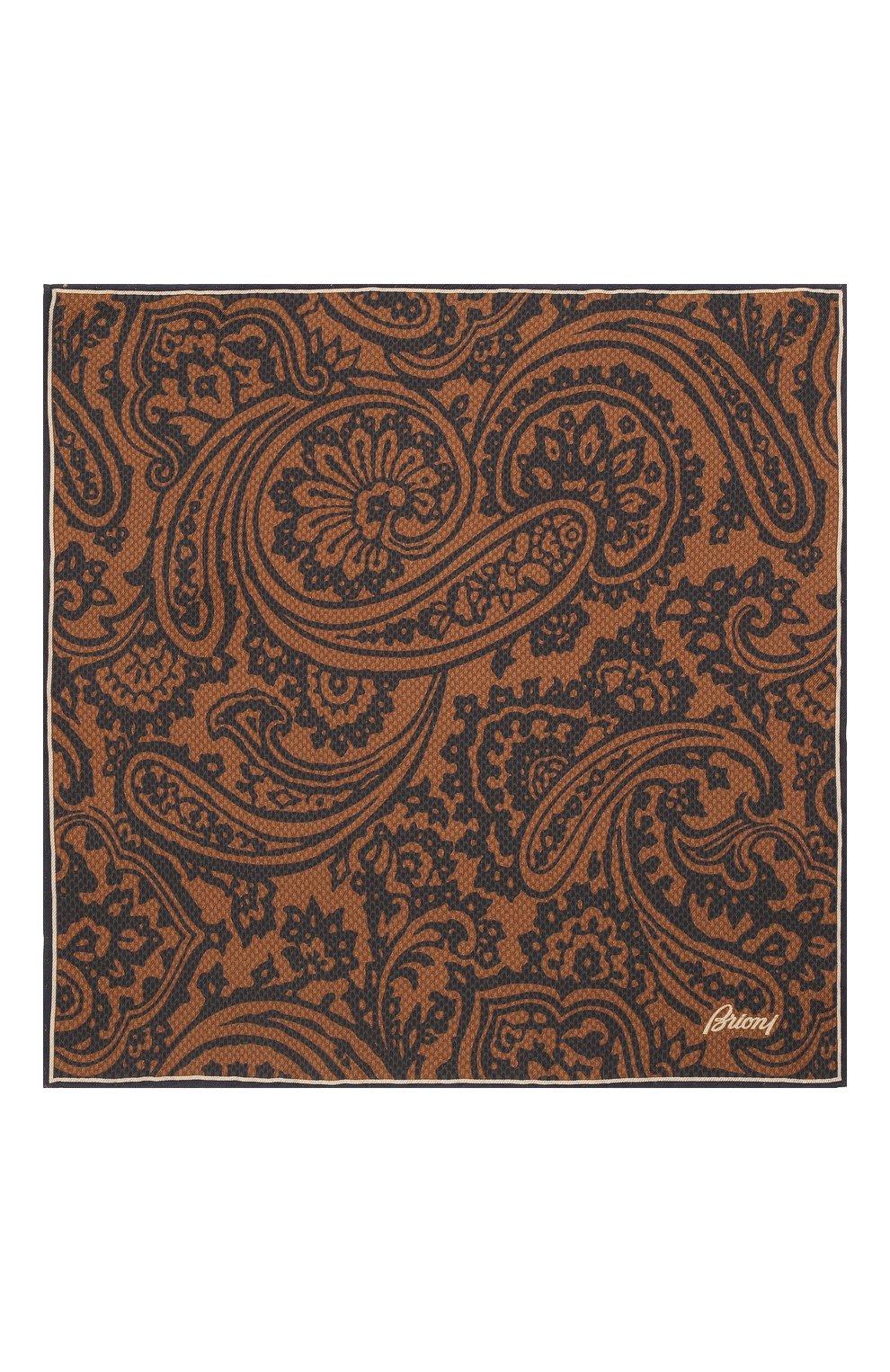 Мужской шелковый платок BRIONI коричневого цвета, арт. 071000/01439   Фото 3 (Материал: Текстиль, Шелк)