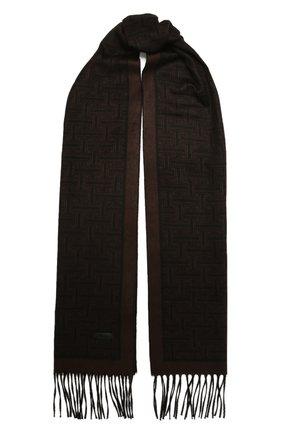 Мужской шарф из шелка и кашемира BRIONI темно-коричневого цвета, арт. 031E00/01351   Фото 1