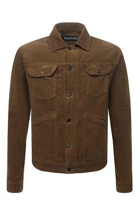 Мужская хлопковая куртка TOM FORD коричневого цвета, арт. BYJ39/TFD116 | Фото 1 (Рукава: Длинные; Длина (верхняя одежда): Короткие; Материал внешний: Хлопок; Кросс-КТ: Куртка, Ветровка; Стили: Кэжуэл)