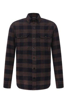 Мужская хлопковая рубашка TOM FORD коричневого цвета, арт. 2FT374/94UDAN | Фото 1 (Длина (для топов): Стандартные; Материал внешний: Хлопок; Рукава: Длинные; Случай: Повседневный; Принт: Клетка; Рубашки М: Slim Fit; Манжеты: На пуговицах; Воротник: Button down; Стили: Кэжуэл)