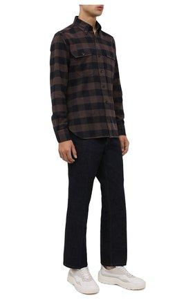 Мужская хлопковая рубашка TOM FORD коричневого цвета, арт. 2FT374/94UDAN | Фото 2 (Длина (для топов): Стандартные; Материал внешний: Хлопок; Рукава: Длинные; Случай: Повседневный; Принт: Клетка; Рубашки М: Slim Fit; Манжеты: На пуговицах; Воротник: Button down; Стили: Кэжуэл)