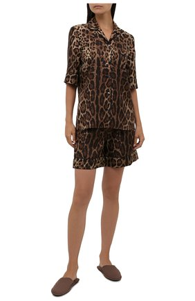 Женские шелковые шорты DOLCE & GABBANA леопардового цвета, арт. FTAM7T/HS1ZX   Фото 2