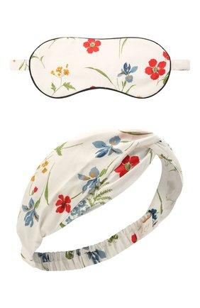 Женские набор из маски и повязки на голову YOLKE белого цвета, арт. AW21-80C-ME-FL-0NESIZE | Фото 1 (Материал внешний: Хлопок)