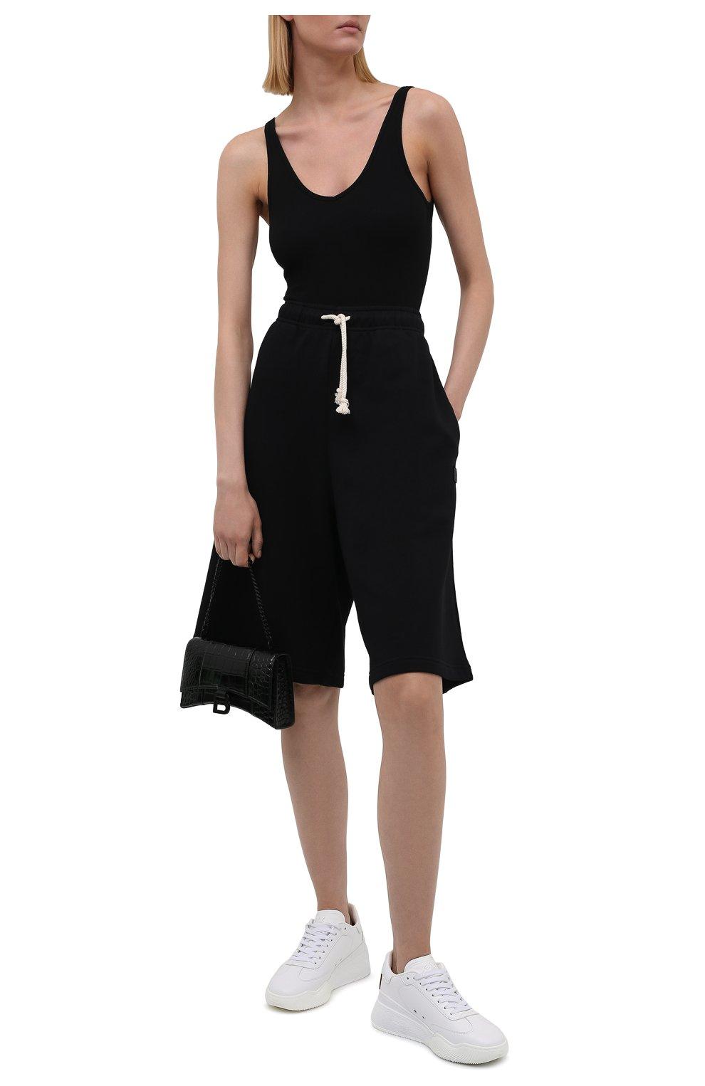 Женские хлопковые шорты ACNE STUDIOS черного цвета, арт. CE0015/W | Фото 2 (Женское Кросс-КТ: Шорты-одежда; Кросс-КТ: Трикотаж; Материал внешний: Хлопок; Стили: Спорт-шик; Длина Ж (юбки, платья, шорты): Миди)