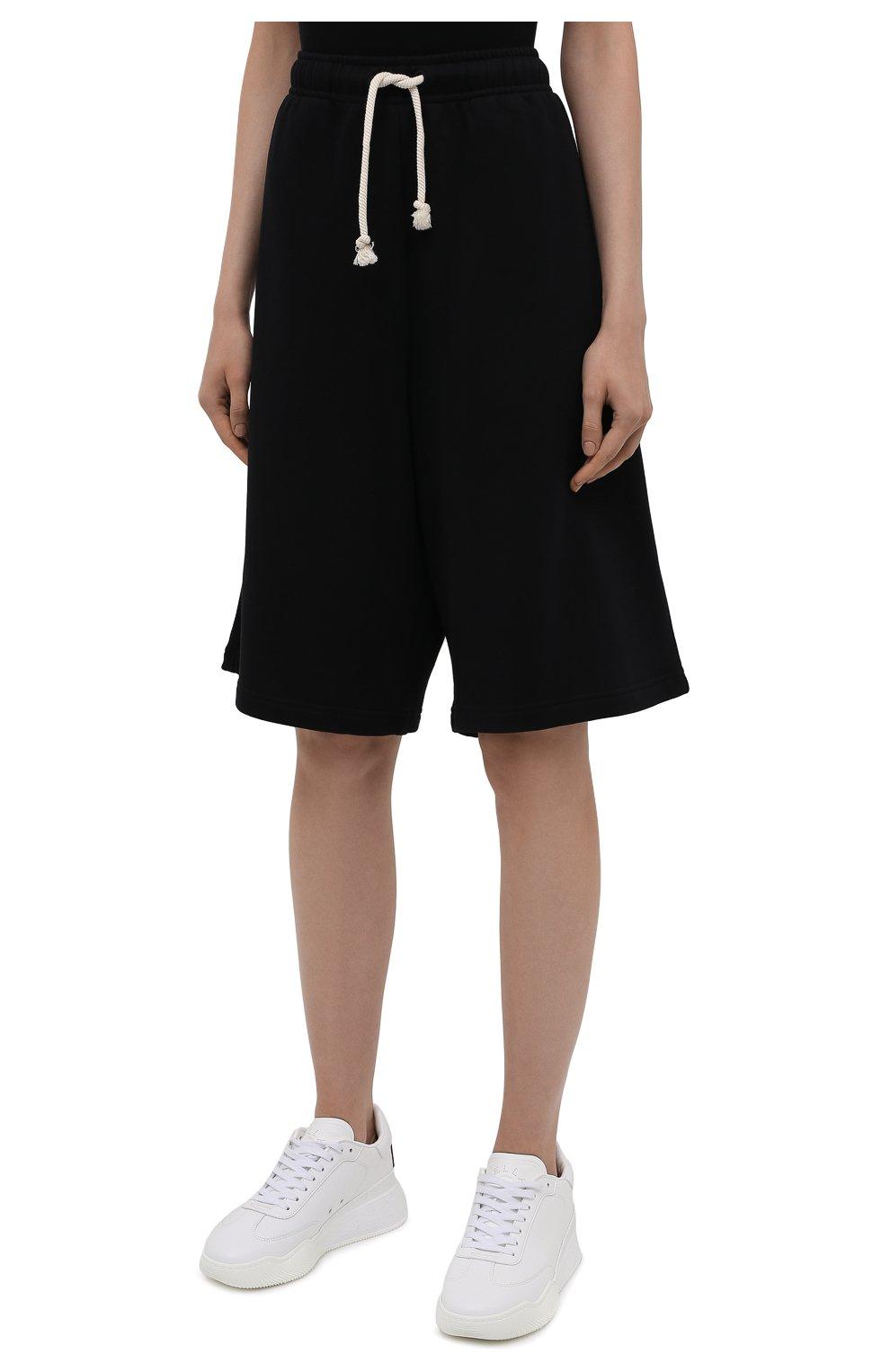 Женские хлопковые шорты ACNE STUDIOS черного цвета, арт. CE0015/W | Фото 3 (Женское Кросс-КТ: Шорты-одежда; Кросс-КТ: Трикотаж; Материал внешний: Хлопок; Стили: Спорт-шик; Длина Ж (юбки, платья, шорты): Миди)
