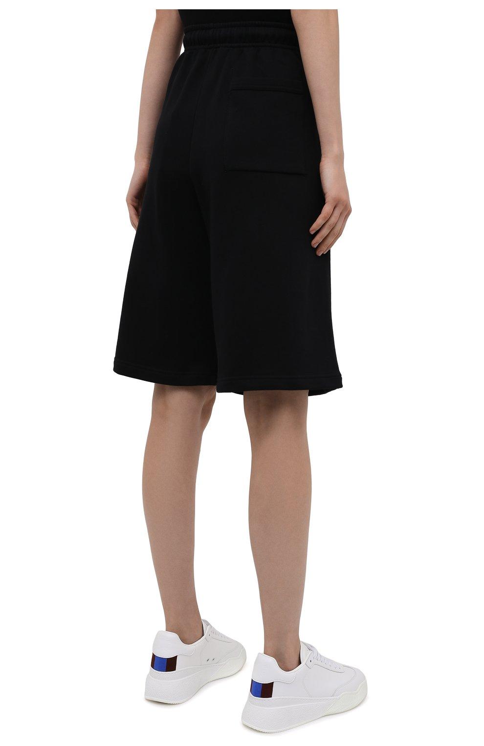 Женские хлопковые шорты ACNE STUDIOS черного цвета, арт. CE0015/W | Фото 4 (Женское Кросс-КТ: Шорты-одежда; Кросс-КТ: Трикотаж; Материал внешний: Хлопок; Стили: Спорт-шик; Длина Ж (юбки, платья, шорты): Миди)
