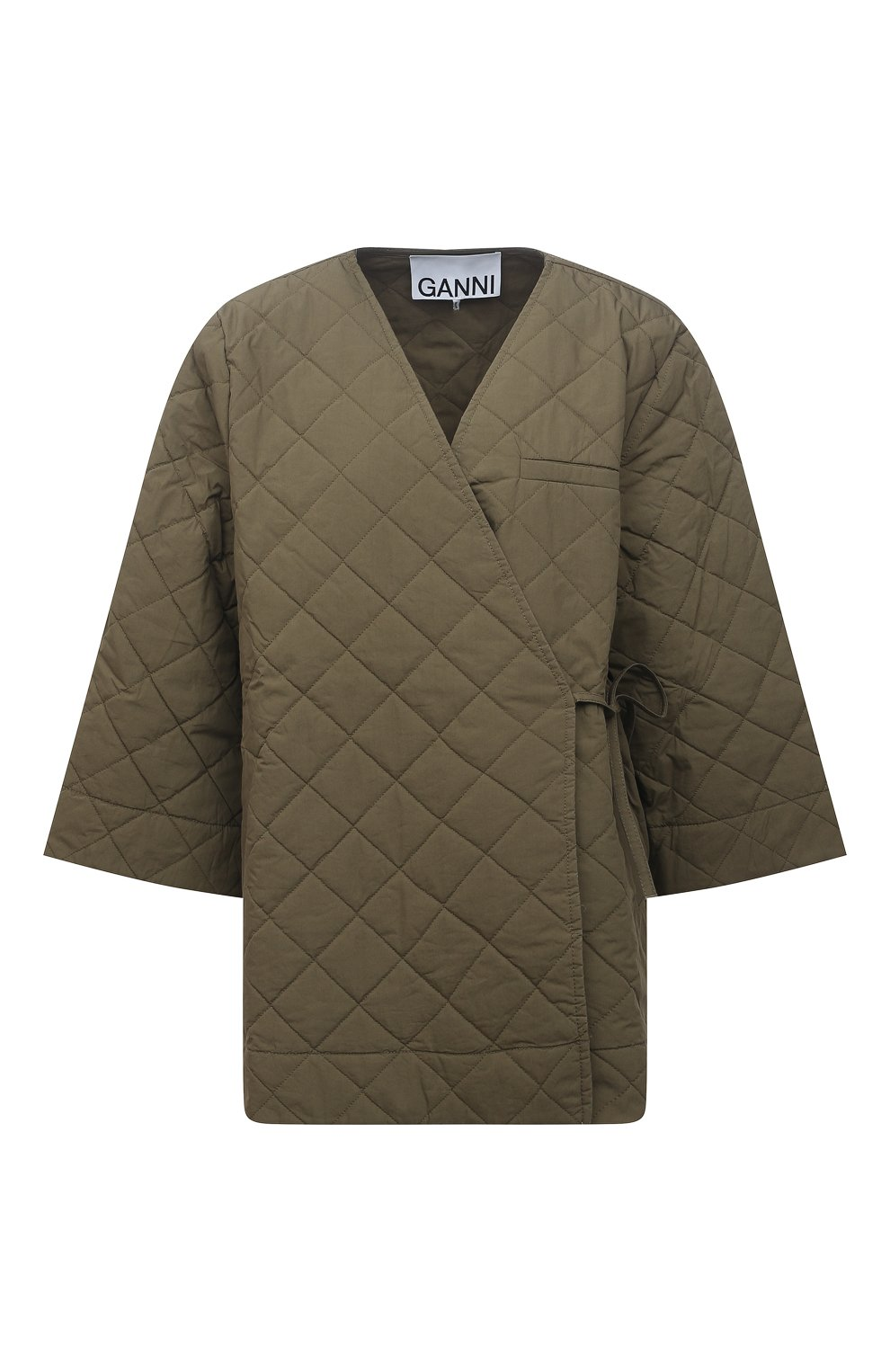 Женская стеганая куртка GANNI хаки цвета, арт. F6098 | Фото 1 (Кросс-КТ: Куртка; Материал внешний: Хлопок; Рукава: 3/4; Длина (верхняя одежда): Короткие; Материал подклада: Хлопок; Стили: Кэжуэл)