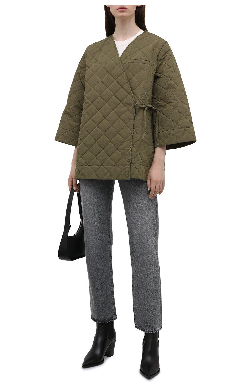Женская стеганая куртка GANNI хаки цвета, арт. F6098 | Фото 2 (Кросс-КТ: Куртка; Материал внешний: Хлопок; Рукава: 3/4; Длина (верхняя одежда): Короткие; Материал подклада: Хлопок; Стили: Кэжуэл)