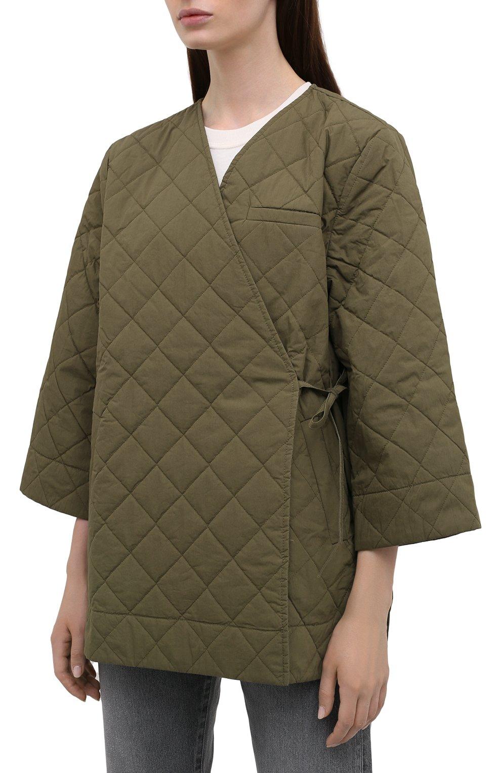 Женская стеганая куртка GANNI хаки цвета, арт. F6098 | Фото 3 (Кросс-КТ: Куртка; Материал внешний: Хлопок; Рукава: 3/4; Длина (верхняя одежда): Короткие; Материал подклада: Хлопок; Стили: Кэжуэл)