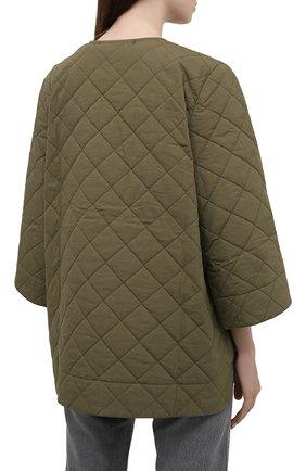 Женская стеганая куртка GANNI хаки цвета, арт. F6098 | Фото 4 (Кросс-КТ: Куртка; Материал внешний: Хлопок; Рукава: 3/4; Длина (верхняя одежда): Короткие; Материал подклада: Хлопок; Стили: Кэжуэл)
