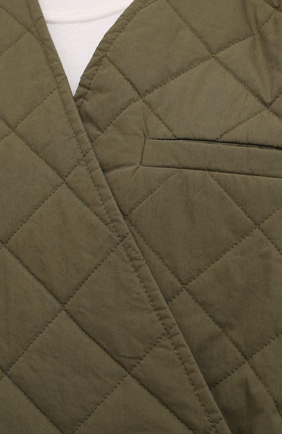 Женская стеганая куртка GANNI хаки цвета, арт. F6098 | Фото 5 (Кросс-КТ: Куртка; Материал внешний: Хлопок; Рукава: 3/4; Длина (верхняя одежда): Короткие; Материал подклада: Хлопок; Стили: Кэжуэл)