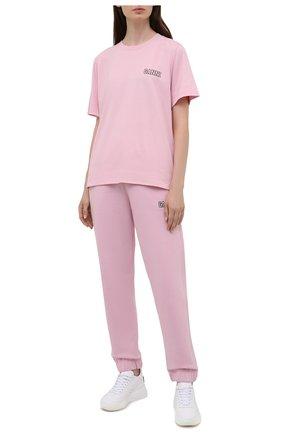 Женские хлопковые джоггеры GANNI светло-розового цвета, арт. T2925   Фото 2