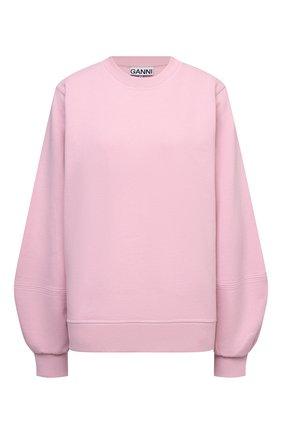 Женский хлопковый свитшот GANNI светло-розового цвета, арт. T2921   Фото 1