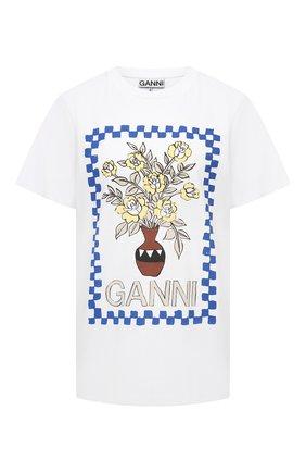 Женская хлопковая футболка GANNI белого цвета, арт. T2799   Фото 1