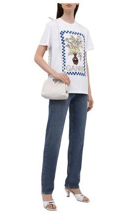 Женская хлопковая футболка GANNI белого цвета, арт. T2799   Фото 2