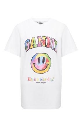 Женская хлопковая футболка GANNI белого цвета, арт. T2797   Фото 1