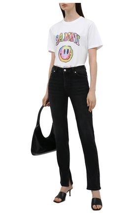 Женская хлопковая футболка GANNI белого цвета, арт. T2797   Фото 2