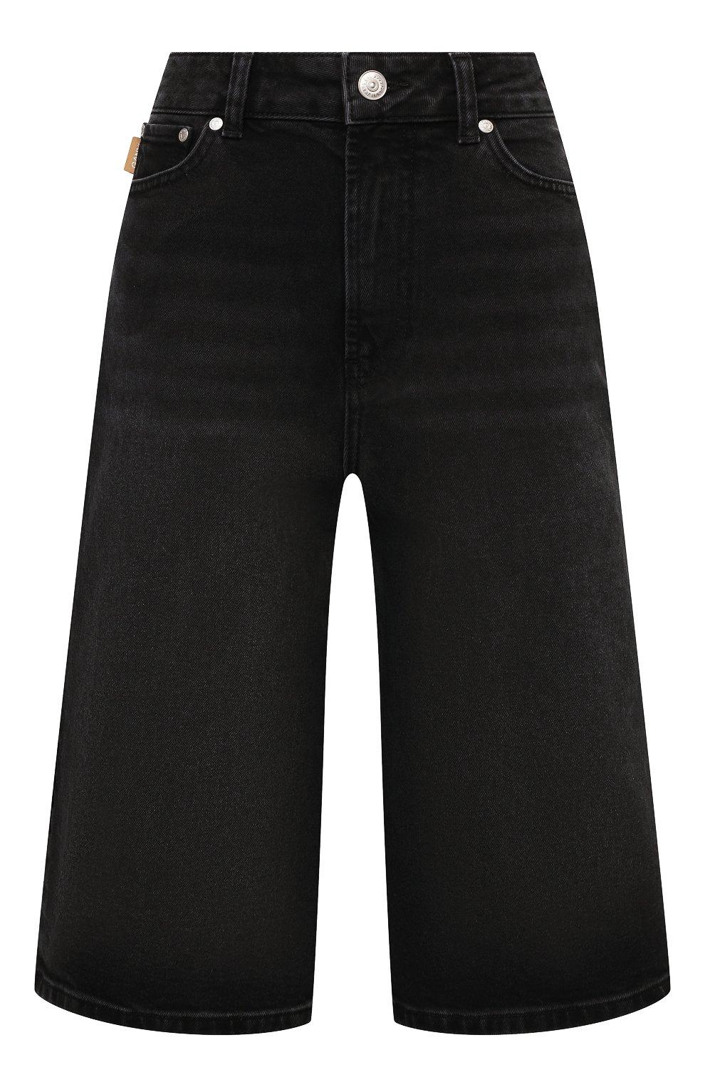 Женские джинсовые шорты GANNI темно-серого цвета, арт. F6110 | Фото 1 (Женское Кросс-КТ: Шорты-одежда; Кросс-КТ: Деним, Широкие; Материал внешний: Хлопок; Длина Ж (юбки, платья, шорты): Миди; Стили: Кэжуэл)
