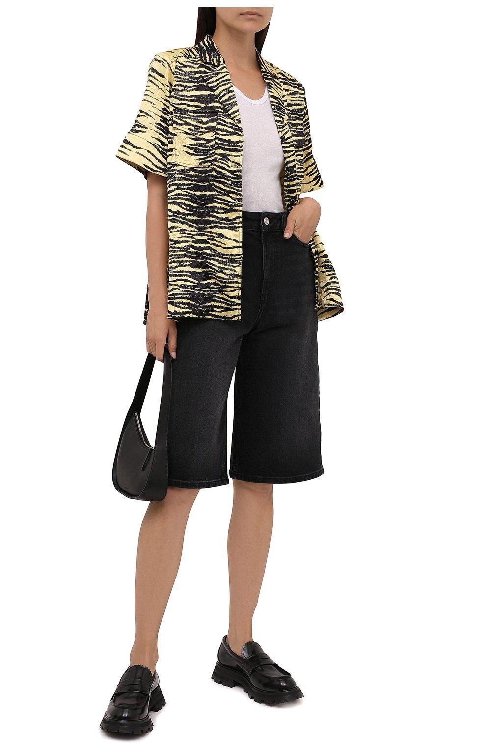 Женские джинсовые шорты GANNI темно-серого цвета, арт. F6110 | Фото 2 (Женское Кросс-КТ: Шорты-одежда; Кросс-КТ: Деним, Широкие; Материал внешний: Хлопок; Длина Ж (юбки, платья, шорты): Миди; Стили: Кэжуэл)