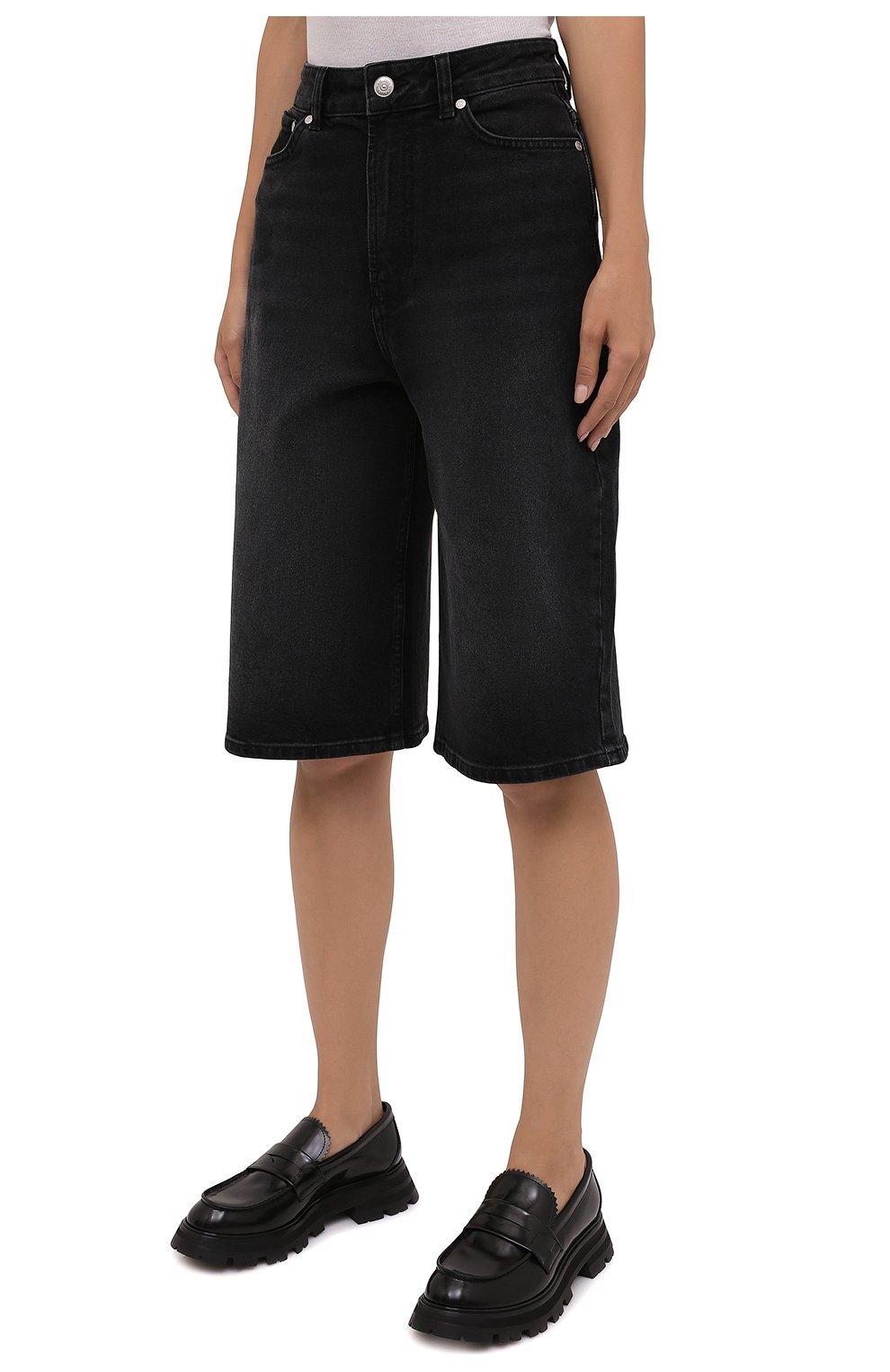 Женские джинсовые шорты GANNI темно-серого цвета, арт. F6110 | Фото 3 (Женское Кросс-КТ: Шорты-одежда; Кросс-КТ: Деним, Широкие; Материал внешний: Хлопок; Длина Ж (юбки, платья, шорты): Миди; Стили: Кэжуэл)