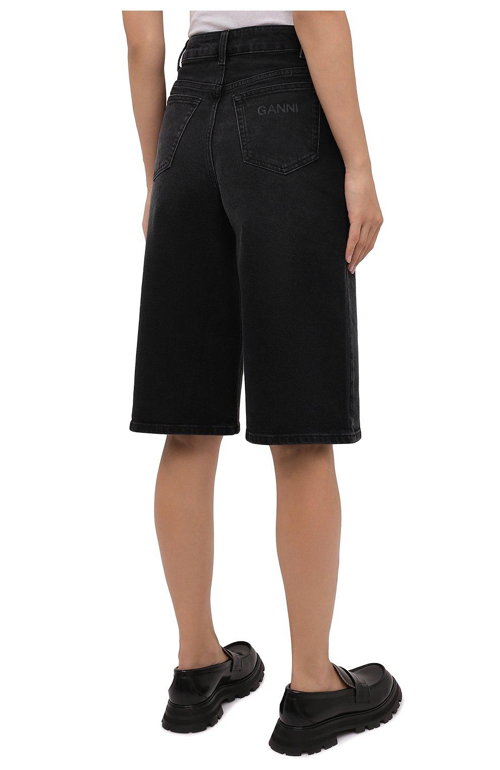 Женские джинсовые шорты GANNI темно-серого цвета, арт. F6110 | Фото 4 (Женское Кросс-КТ: Шорты-одежда; Кросс-КТ: Деним, Широкие; Материал внешний: Хлопок; Длина Ж (юбки, платья, шорты): Миди; Стили: Кэжуэл)