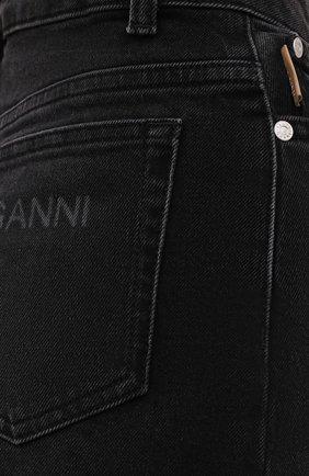 Женские джинсовые шорты GANNI темно-серого цвета, арт. F6110 | Фото 5 (Женское Кросс-КТ: Шорты-одежда; Кросс-КТ: Деним, Широкие; Материал внешний: Хлопок; Длина Ж (юбки, платья, шорты): Миди; Стили: Кэжуэл)