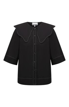 Женская хлопковая рубашка GANNI черного цвета, арт. F6032   Фото 1
