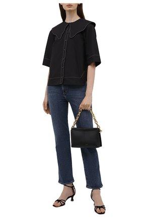 Женская хлопковая рубашка GANNI черного цвета, арт. F6032   Фото 2
