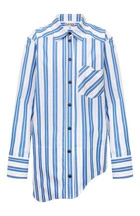 Женская хлопковая рубашка GANNI голубого цвета, арт. F5978   Фото 1