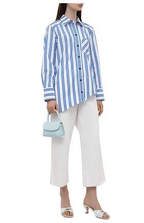 Женская хлопковая рубашка GANNI голубого цвета, арт. F5978   Фото 2