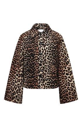Женский жакет изо льна и хлопка GANNI леопардового цвета, арт. F5956   Фото 1
