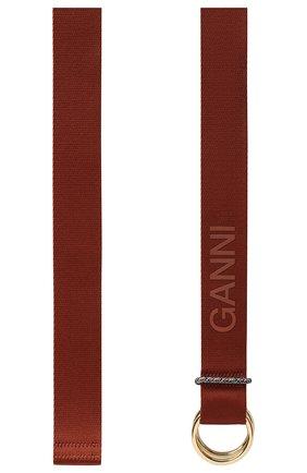 Женский текстильный пояс GANNI коричневого цвета, арт. A3508   Фото 2