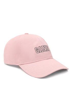 Женская хлопковая бейсболка GANNI светло-розового цвета, арт. A3430   Фото 1
