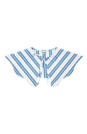 Женский хлопковый воротник GANNI голубого цвета, арт. A3394   Фото 1